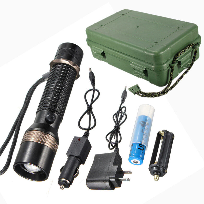 Harga Tactical 1200Lm Q5 LED Rechargeable Zoomable Flashlight Torch SetWith Box