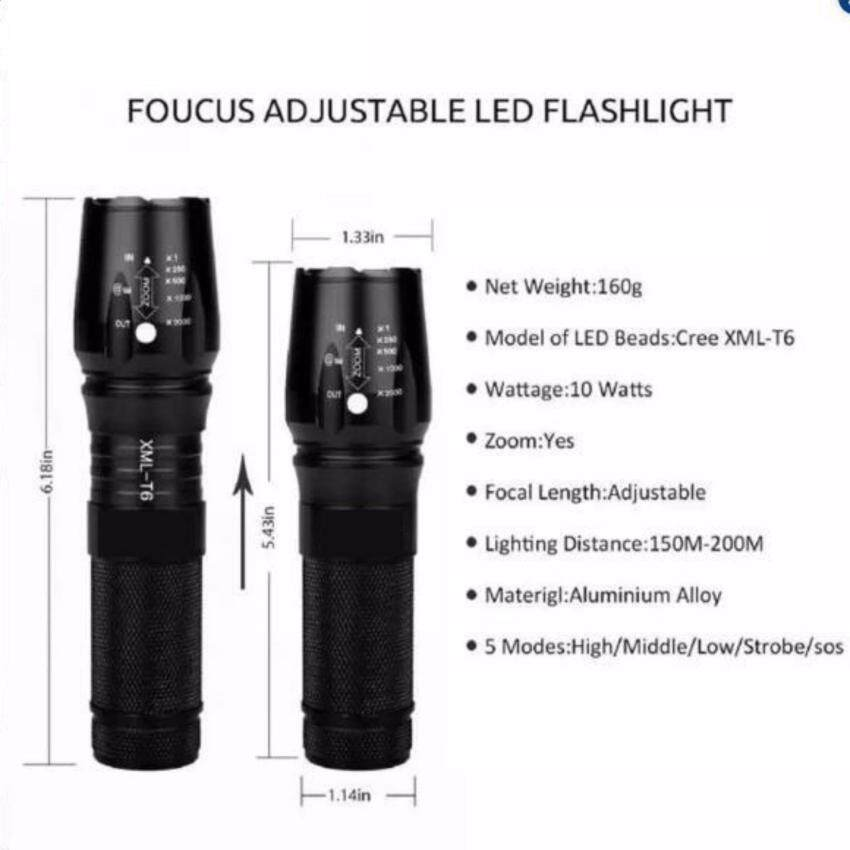 Tactical 5000LM XM-L T6 LED X800 Zoomable Flashlight Torch Light Lamp+26650+Charger - 5