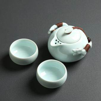 Tea Sets Chinese Kung Fu Tea Set Ceramic Teapot Tea Cup PortableTravel Tea Set(Green)