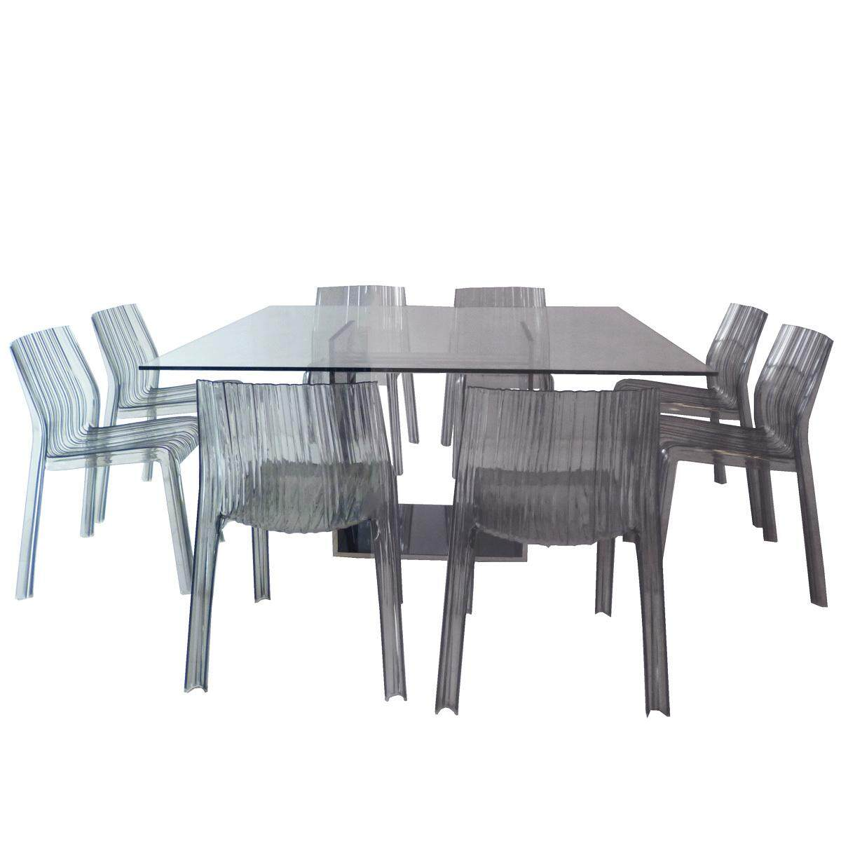 Tekkashop 1+8 Contemporary Dining Set 1x Dining Table 8x Patricia Urquiola Frilly Chairs