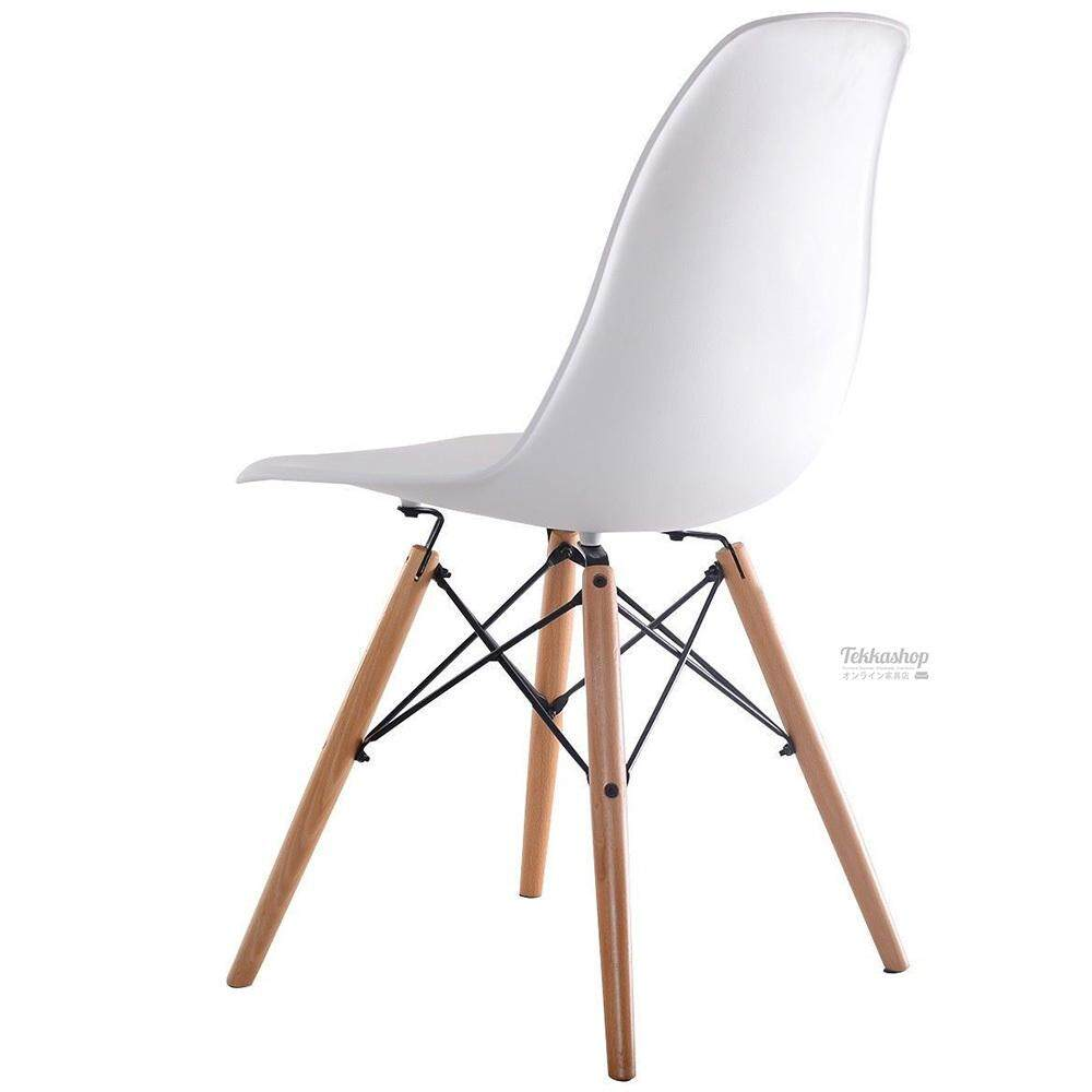 Tekkashop GDCZ202W Eames Dining Chair Study Chair Wood Leg (White)
