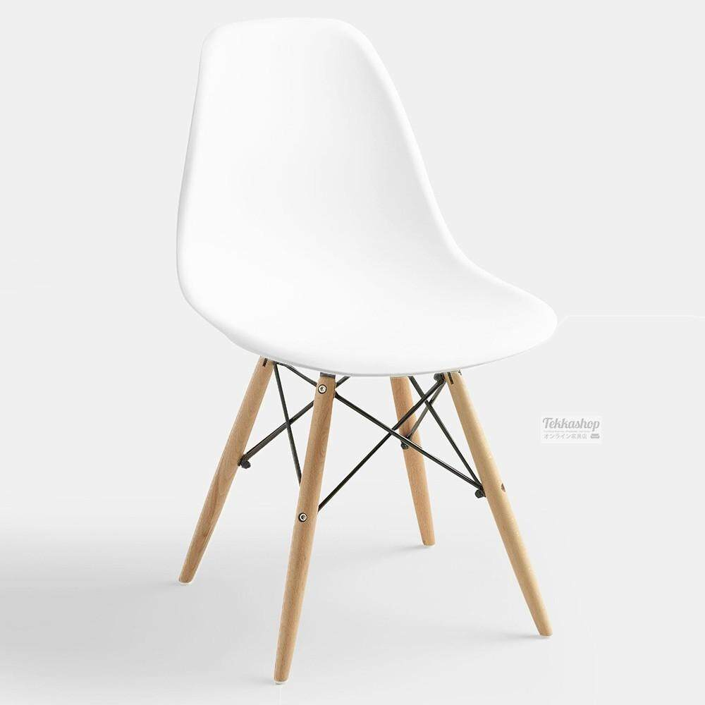 Tekkashop GDCZ202W Eames Style Dining Side Chair Study Chair Wood Leg (White)