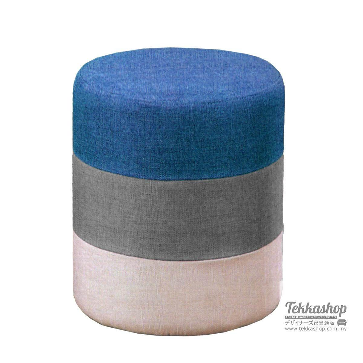 Tekkashop KKM882LC Fabric 3 Layers Round Cube Ottoman Foot Stool (Blue)