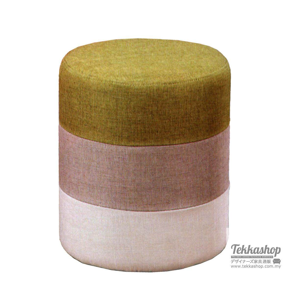 Tekkashop KKM882LC Fabric 3 Layers Round Cube Ottoman Foot Stool (Green)