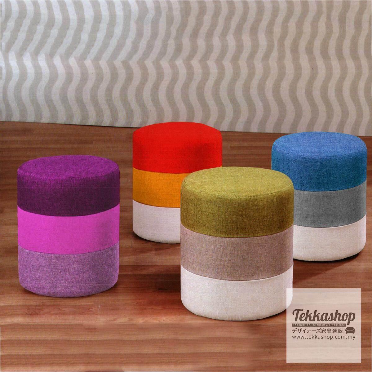 Tekkashop KKM882LC Fabric 3 Layers Round Cube Ottoman Foot Stool (Green)