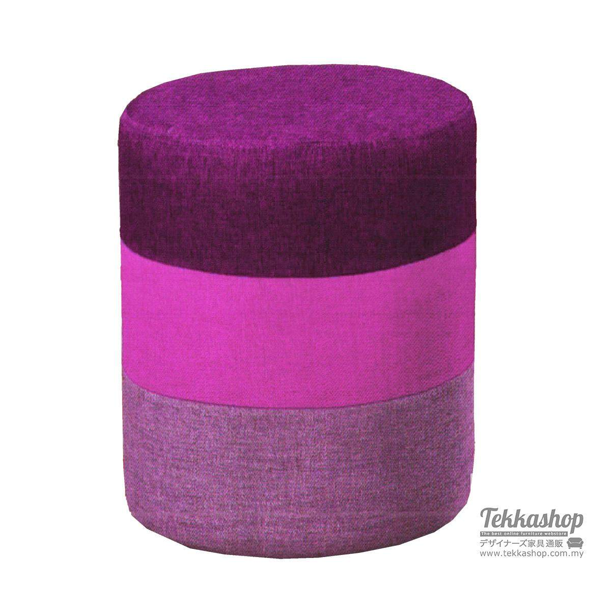 Tekkashop KKM882LC Fabric Round Cube Ottoman Foot Stool (Purple)
