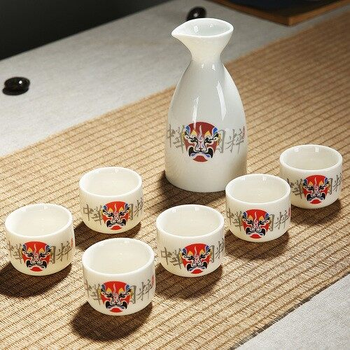 The porcelain and ceramics wine has Chinese theatrical mask white spirit strong drink cup 300ML Super Mug - intl