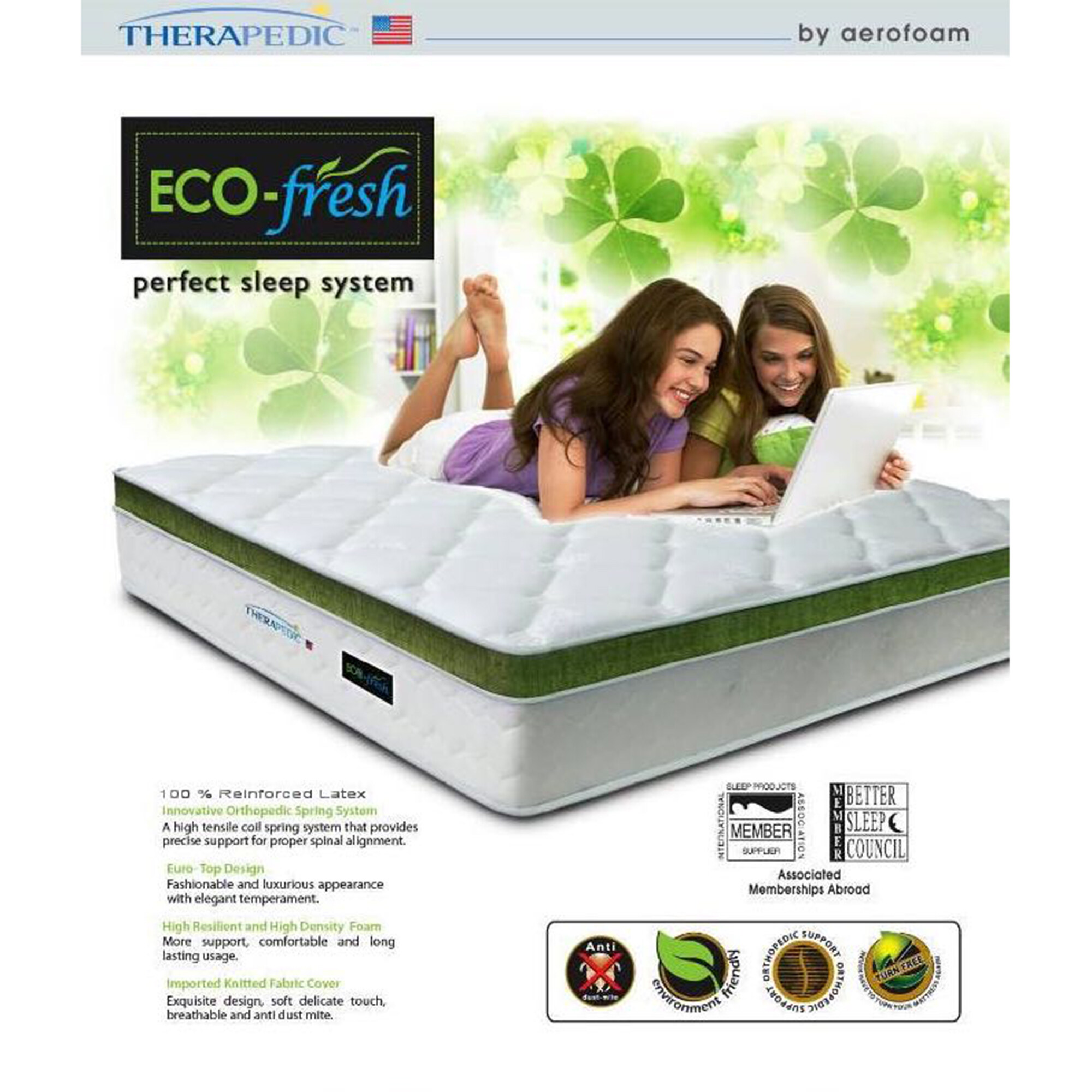 Therapedic Eco Fresh 12 Inch Spring & Latex Chiropractic High Quality Mattress (10 Years Warranty)-White