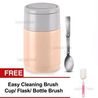Harga Thermal Cooker Pot 800ml With Steam Release Thermos Vacuum Steel Hot Food Jar FREE CleaningBrush (Pink)