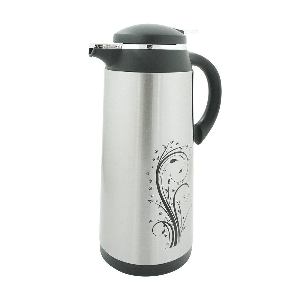 Thermos & Vacuum Flask Vacuum Insulated Air Pot Stainless Steel with Floral Design - 1.6L