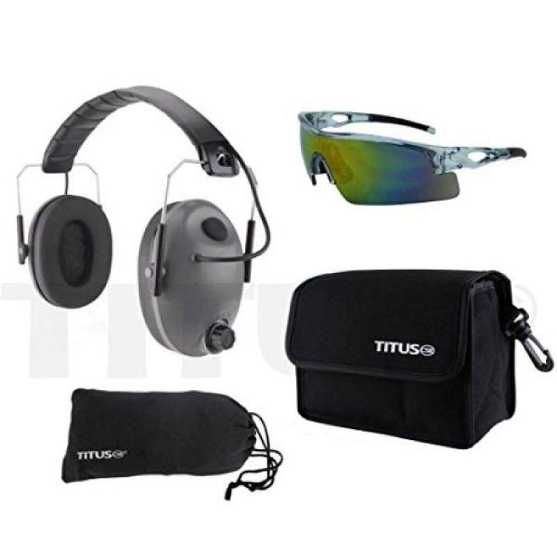 Buy TITUS Earmuff/Glasses Combo – Low Profile Electronic Noise Cancelling Muffs & G Series Safety Glasses - (EarMuffs, Glasses, and Carrying Case) - Personal Safety, Shooting Gear, Portable Pouches Malaysia