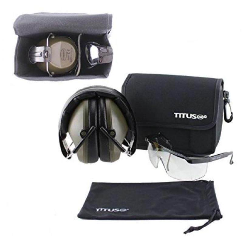 Buy TITUS Earmuff/Glasses Combo - M2 Low-Profile Muffs & G6 Clear EyeShield Safety Glasses - Ear+Eye Protection Super Bundle (EarMuffs, Glasses, and Carrying Case) - Personal Safety, Shooting Gear Malaysia