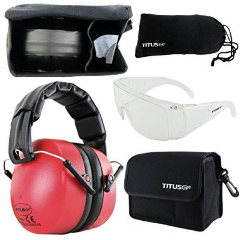 Buy TITUS Earmuff/Glasses Combo – Onyx Red Muffs & G Series Safety Glasses - Ear+Eye Protection Bundle - Personal Safety, Shooting Gear, Portable Pouches Malaysia