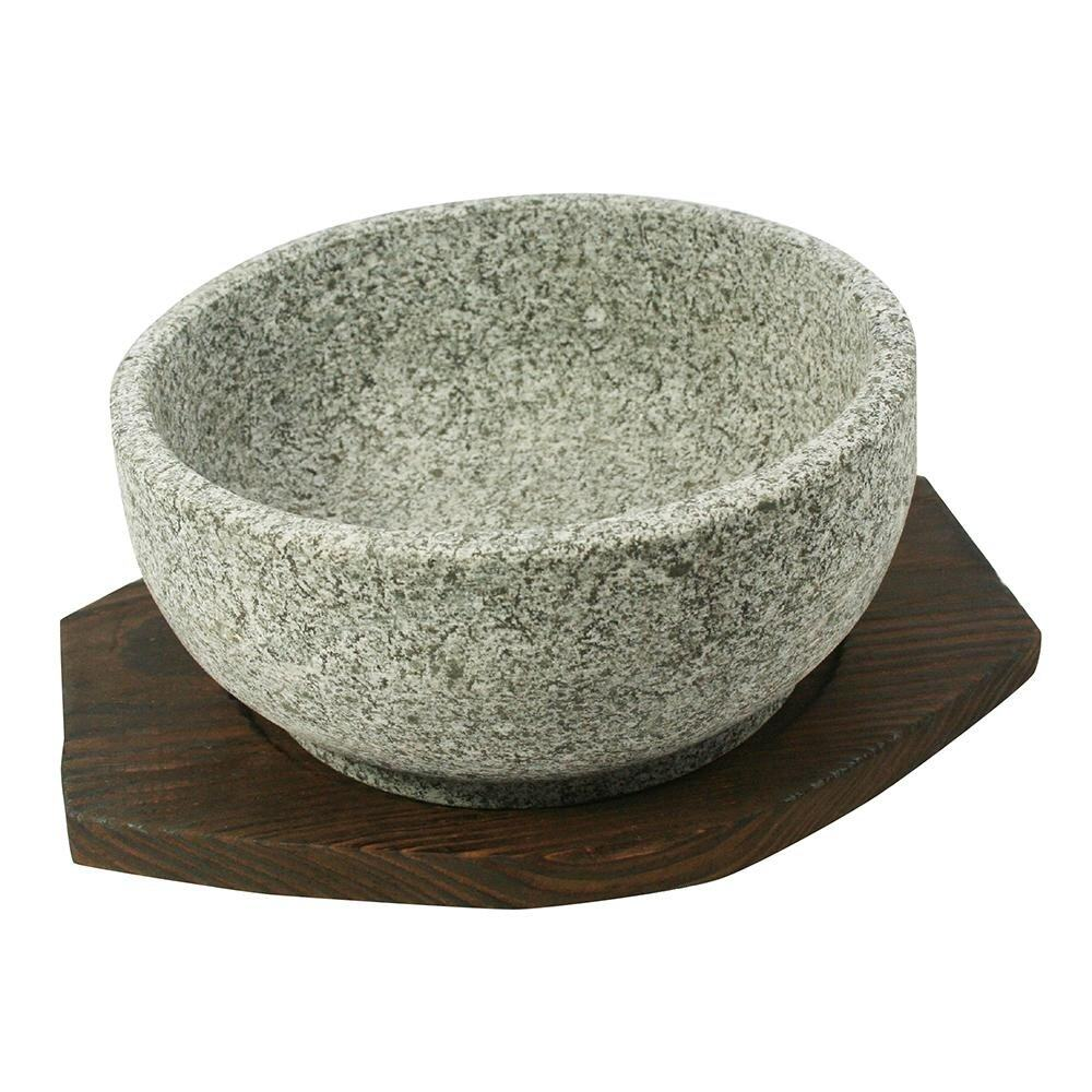 Traditional Korean Stone Bowl with Tray - 16cm