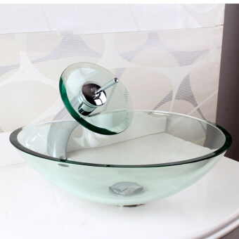 Transparent Tempered Glass Bathroom Vessel Sinks Wash Basin