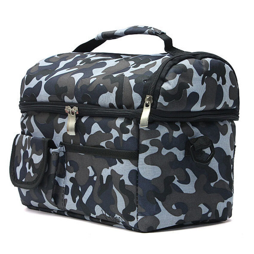 Travel BBQ Camping Picnic Lunch Insulated Cooler Cool ice bag Food Drink Carrier Sea Camouflage -