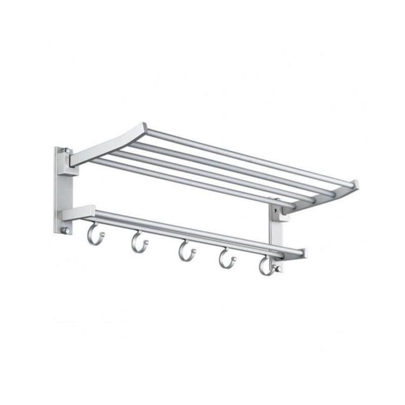TRENY  Aluminum Double Tier Towel Shelf with Hooks