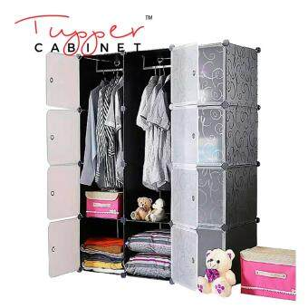 Harga Tupper Cabinet 12 Cubes Black Stripes DIY Wardrobe