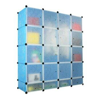 Tupper Cabinet 20 Cubes Blue Flower DIY Wardrobe With Shoe Rack ...