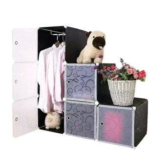 Harga Tupper Cabinet 6 Cubes Black Stripes DIY L-Shape Wardrobe