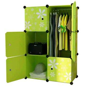 Harga Tupper Cabinet 6 Cubes Green Flower DIY Wardrobe