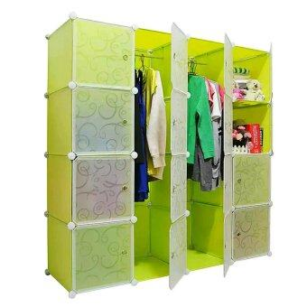 Harga Tupper Cabinet DIY Wardrobe 16 Cubes (Fruit Green)