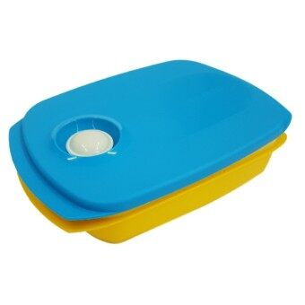 Tupperware 1L Reheatable Divided Lunch Box Set (Blue And Yellow) - 2