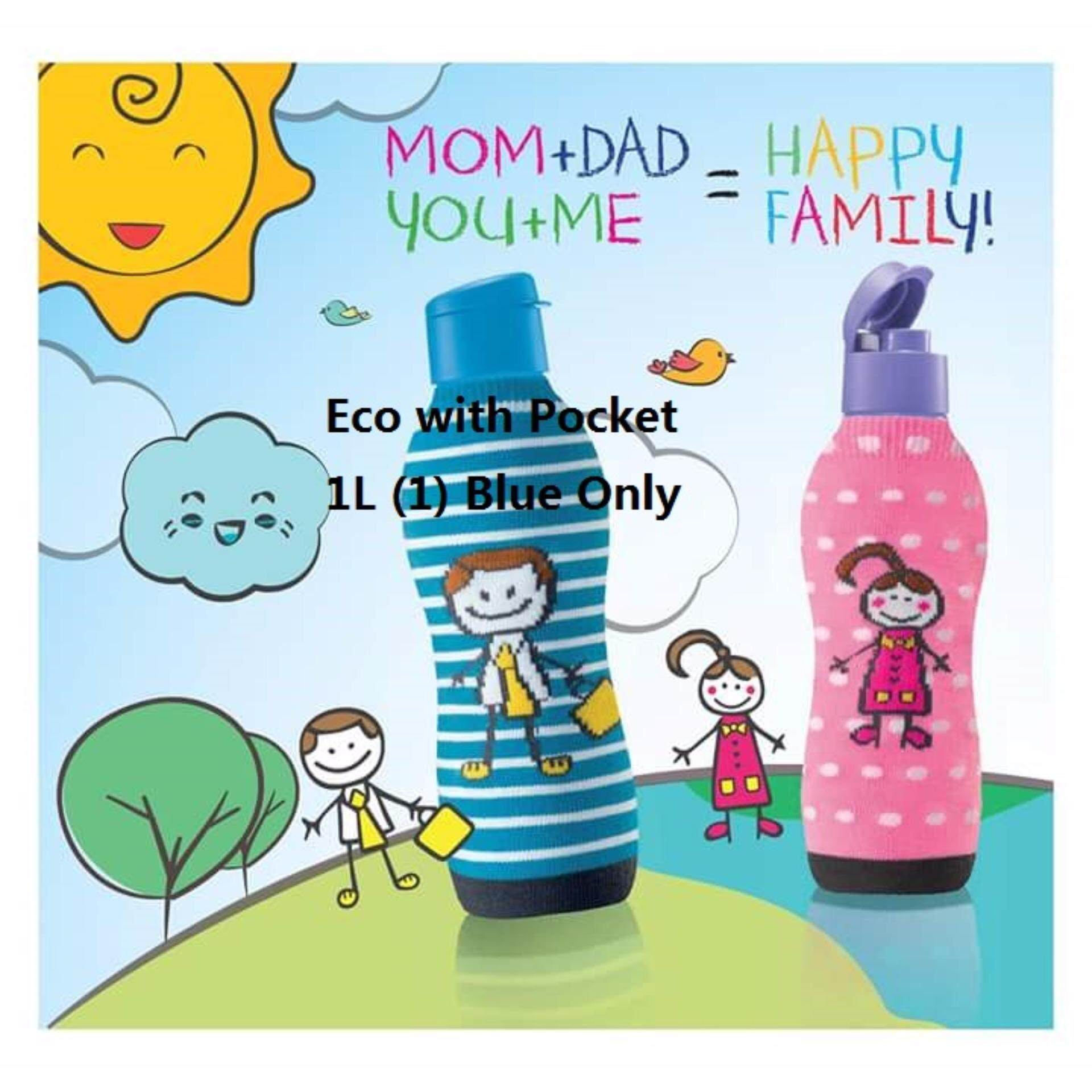 Tupperware Happy Family Eco Bottle with Pocket 1L (1) Blue Only