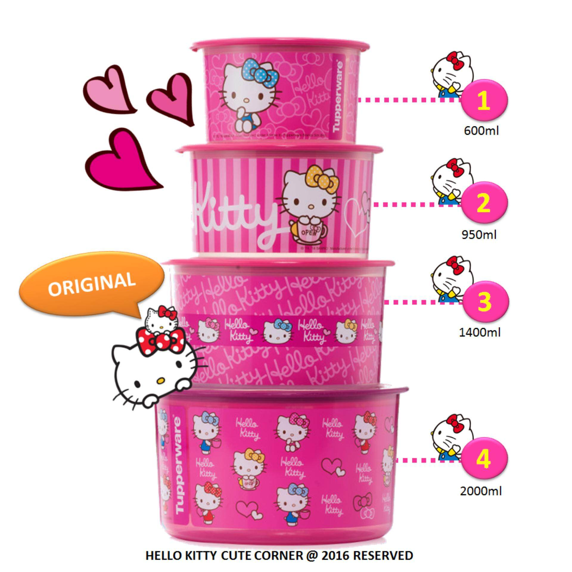 Tupperware limited edition hello kitty one touch (4) full set.