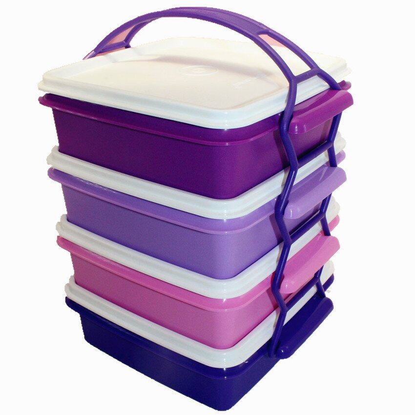 Tupperware Small Goody Box Cariolier 4 Tiers 790ml  Lunch Box - Purple