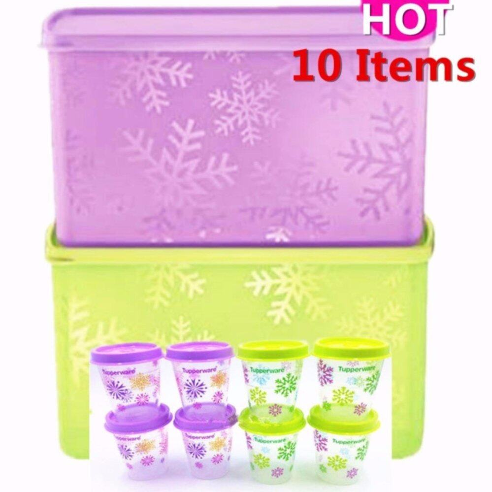 Tupperware Snowake Double Square Round (2) 2.8L with Midget (8) set