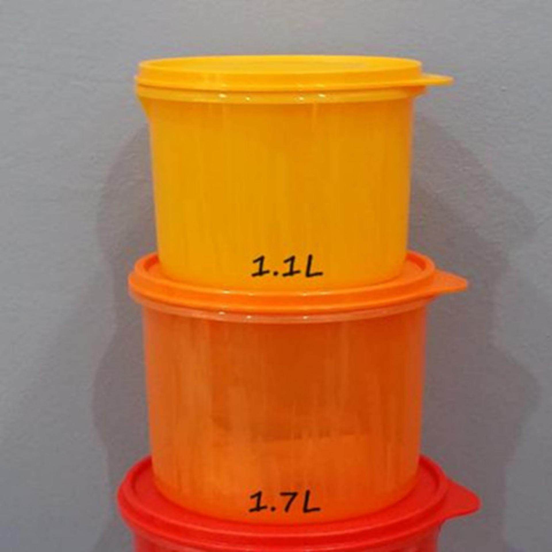 Tupperware Textured Canister 1.1L (1) And 1.7L  (1) Set - Orange