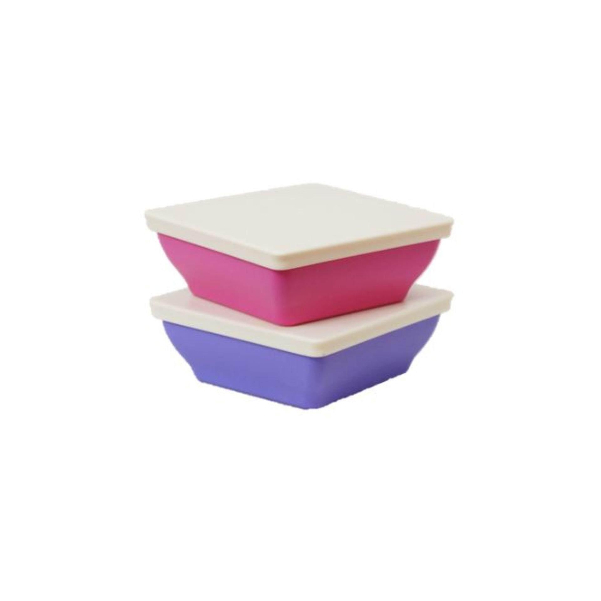 Tupperware Zen Square Small (2) 200ml - Pink & Purple