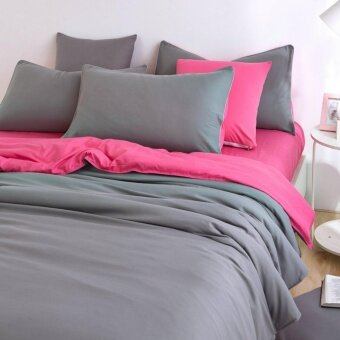 Harga Two-Tone Bed Sheet Set - Grey Pink - King