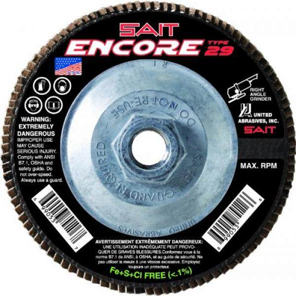 United Abrasives 71276 Encore High Performance Flap Disc, Type 29, 7-Inch Diameter, 5/8-11 Arbor, Z 40X, 10-Pack - intl