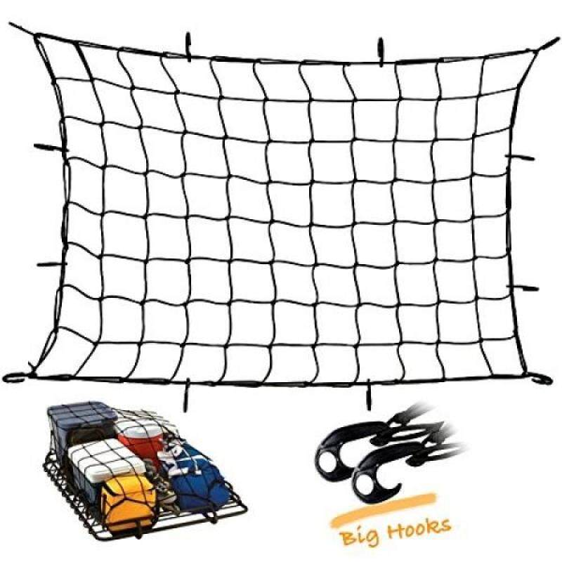 """Buy Upgraded Latex Bungee Cord Cargo Net, Kindax 47"""" x 36"""" Cargo Net with 12 big removable Hooks Stretches to 80"""" x 60"""" for the Secure Carrying on Roof Luggage Rack, Cargo Carrier and Pick Malaysia"""
