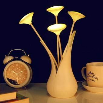 Dsstyles USB LED Meja Tulis Lampu Ringan Sensor Vase Bentuk Lampu Malam Hemat Energi Bedlight Hias