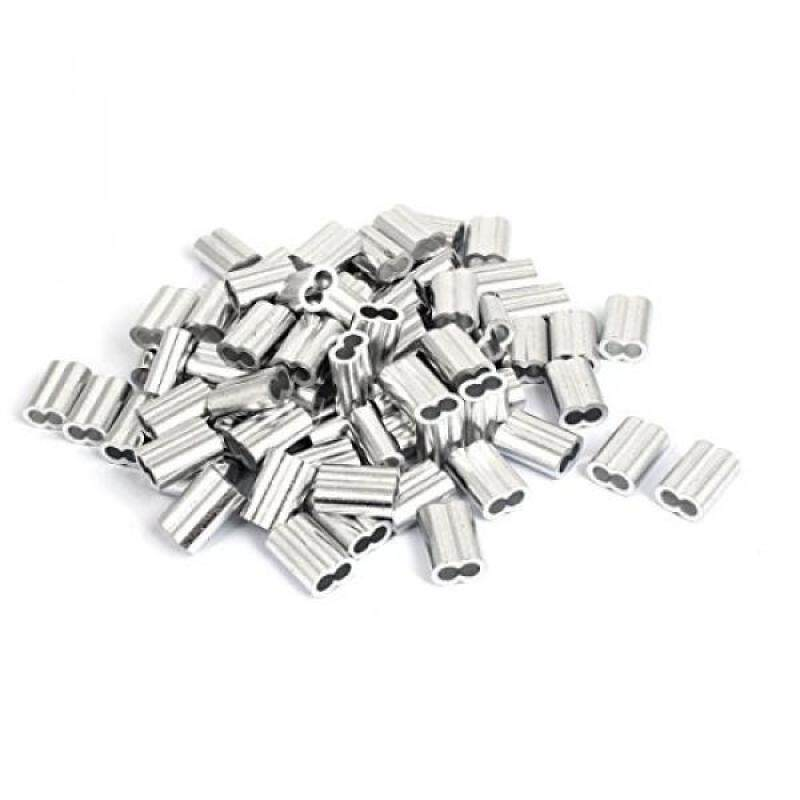 """Buy uxcell 1/4"""" Double Hole Aluminum Swage Sleeve Wire Rope Clamp Clip 80 Pcs Malaysia"""