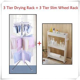 VALUE SET: 3 Tier Clothes Hanging & Drying Rack + 3 Tier SlimWheel Rack Organizer