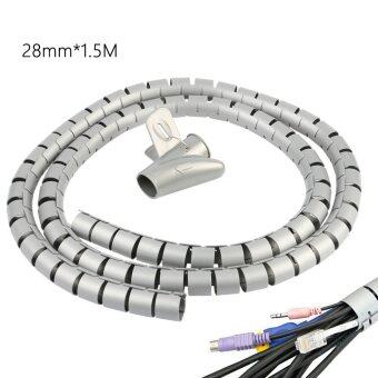 Vanker 2pcs OEM Plastic 28mm Cable Organizer Coiled Tube SleeveManagement Wrap