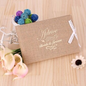 Vintage 72 Pages Burlap Cover Wedding Guest Book Rustic Style Hardcover Double Sided Guestbook