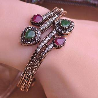 Vintage Green Branch Flower Bangles Antique Gold Plated Red Water Drop Resin Women Bangle Bracelets Hand Crystal Turkish Jewelry - 2