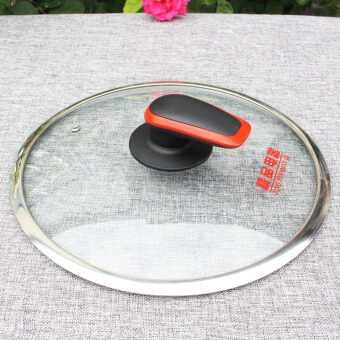 Visual brimmed steel lid Glass lid frying pan pot wok pot with a handle new 2440 cm
