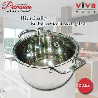 Viva Houz, Heavy Duty 20cm ?, Stainless Steel Stock Pot, Cooking Pot with Tempered Glass Lid
