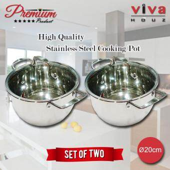 Viva Houz, Heavy Duty 20cm ?, Stainless Steel Stock Pot, Cooking Pot with Tempered Glass Lid (Set of 2)