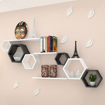 Features Wall Shelf Set Of 9 Book Floating Shelves Storage Creative