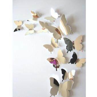 Wall Stickers Decal Butterflies 3D Mirror Wall Art Home Decors