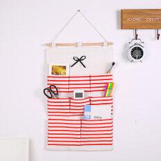 storage bag japanese navy wind striped storage bag wall hanging bag multi layer hanging pocket bath