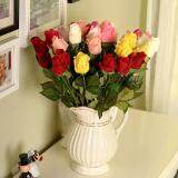 ... Wedding Flower Head Real Touch Rose Bud Flowers For Home Decor Wedding Bouquet-Red 10PCS