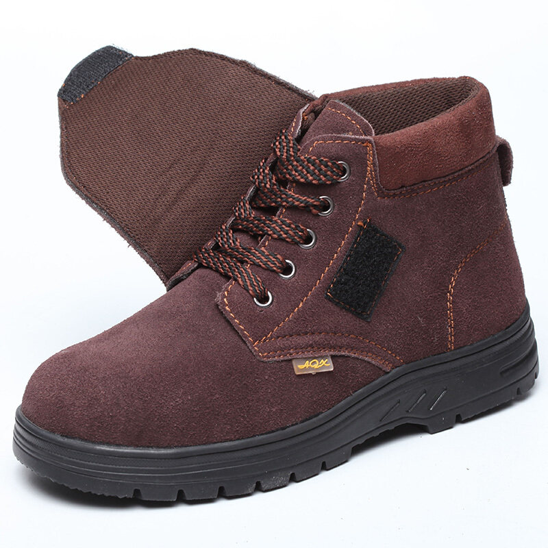 Buy Welding work safety shoes men steel header anti-smashing anti-piercing safety work shoes high-top leather anti-hot old security and shoes Malaysia
